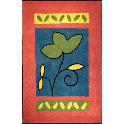 Bright Rug Rose/Blue A Single Flower Novelty Rug
