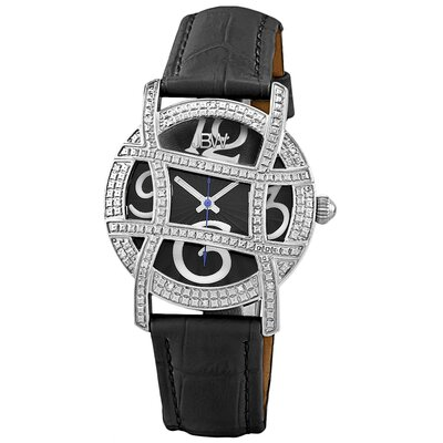Olympia Designer Dial Leather Diamond Watch