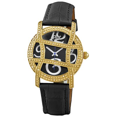 Women's Olympia Leather Watch in White with Black Dial
