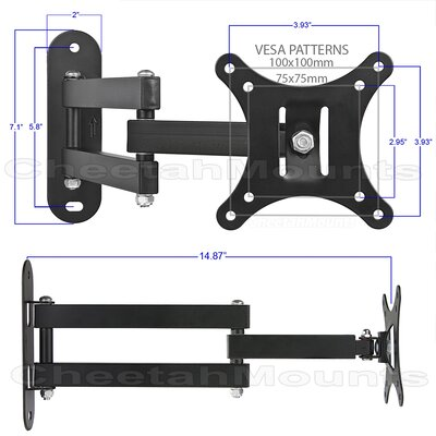 "Cheetah Mounts Articulating Arm TV Wall Mount (12"" - 24"" Screens)"