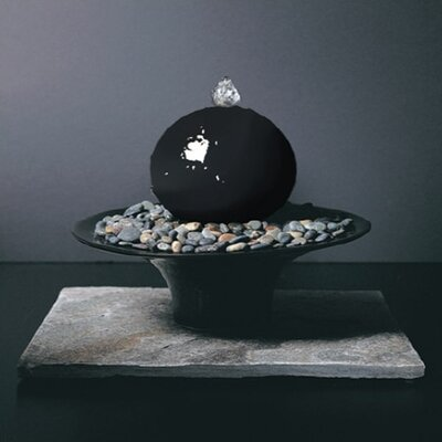 Ceramic Gentle Presence Small Tabletop Sphere Fountain