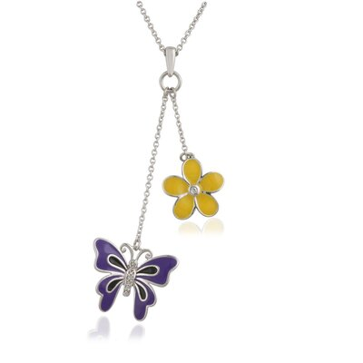 Élan Jewelry Sterling Silver Butterfly and Flower Brilliant Diamond Necklace