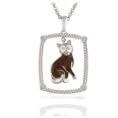 "Élan Jewelry Sterling Silver and Brilliant Diamond ""Burmese"" Brown Enamel Kitty Pendant"