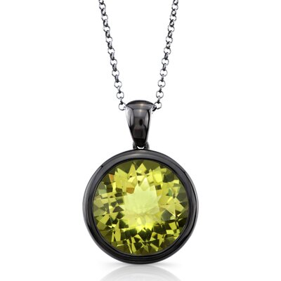 Élan Jewelry Moonstruck Sterling Silver and Lemon Quartz 11 ct Pendant with Black Rhodium