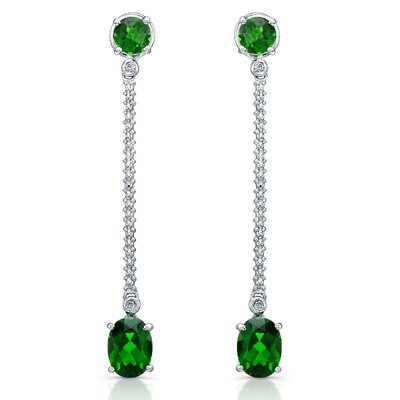 Élan Jewelry Elegance 3.5 Carat Verdilite and Brilliant Cut Diamond Earrings