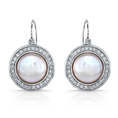 "Élan Jewelry ""Lira"" Sterling Silver Earrings with Fresh Water Cultured Pearls and White Sapphires"