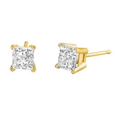 Élan Jewelry Carat Princess Cut Diamond Stud Earrings in Yellow Gold