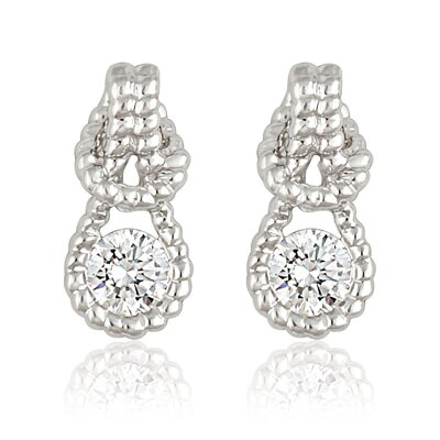 Silver-Tone Cubic Zirconia Fashion Earrings