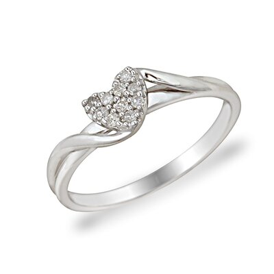 Élan Jewelry 10KT White Gold and Brilliant Cut Diamonds Heart Shaped Promise Ring