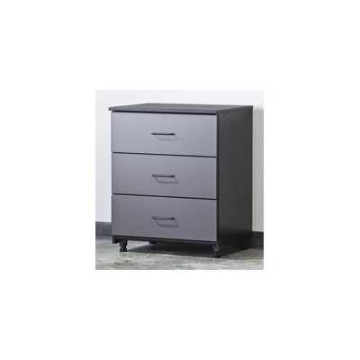 Tuff Stor Three Drawer Unit in Charcoal Grey and Textured Black