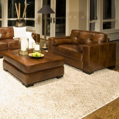 Elements Fine Home Furnishings Soho Top Grain Leather Oversized Chair and Ottoman