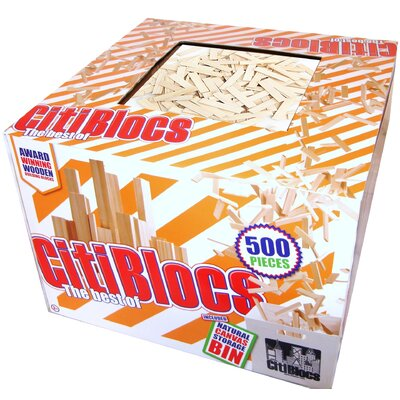 Citiblocs 500 Piece Building Block Set with Bonus Fabric Storage Bin in Natural Colors