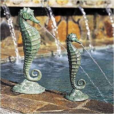 Brass Baron Sea Life Seahorse Fountain