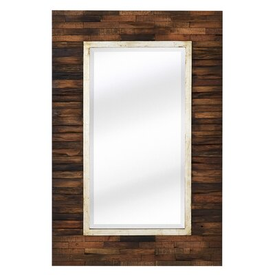 Majestic Mirror Mixed Media Rectangular Bevel Wall Mirror