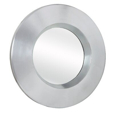 Majestic Mirror Contemporary Plain Round Mirror in Bright Silver