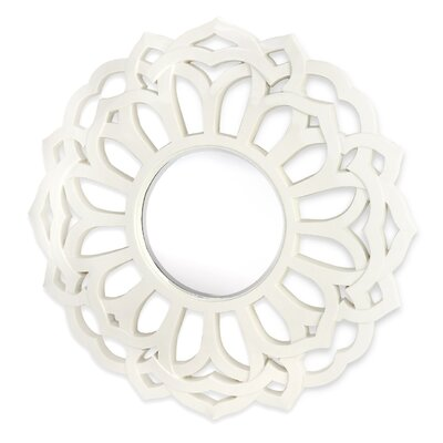 Majestic Mirror Contemporary Beveled Mirror in White Lacquer
