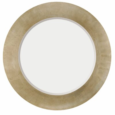 Contemporary Beveled Round Mirror in Antique Silver