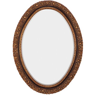 Traditional Beveled Mirror with Black Detail in Antique Gold
