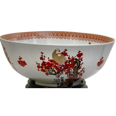 Oriental Furniture Bowl with Cherry Blossom Design in White