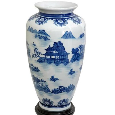 Oriental Furniture Tung Chi Vase with Blue Landscape Design in White