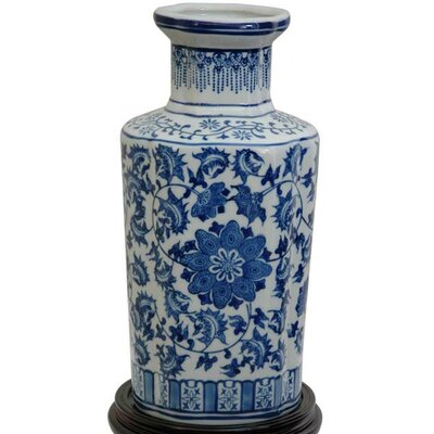 <strong>Oriental Furniture</strong> Blue Floral Vase