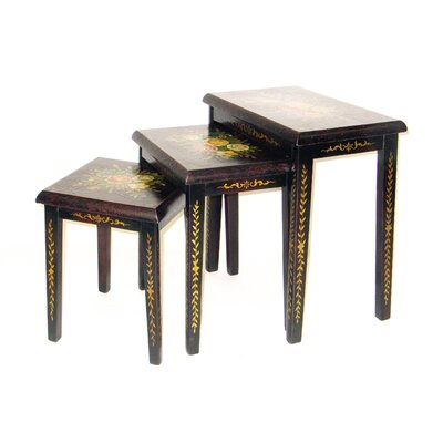 Oriental Furniture Floral 3 Piece Nesting Tables
