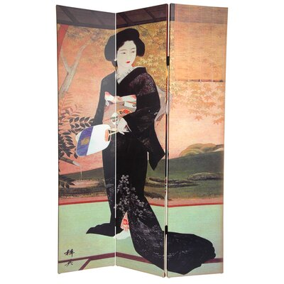 "Oriental Furniture 72"" x 48"" Double Sided Japanese Ladies 3 Panel Room Divider"
