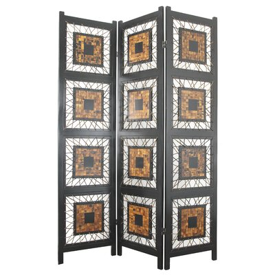 "Oriental Furniture 71"" x 52.5"" Coco Leaf 3 Panel Room Divider"