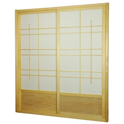 Oriental Furniture Eudes Shoji Double Sliding Sliding Door Kit in Natural