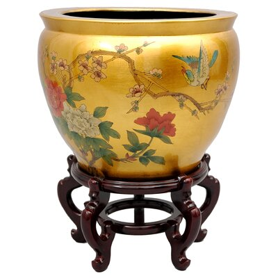 "Oriental Furniture 16"" Leaf Birds and Flowers Fish Bowl with Stand in Gold"