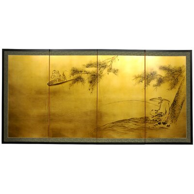 "Oriental Furniture 36"" Gold Leaf Fishing for Life Silk Screen with Bracket"