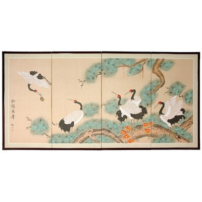 "Oriental Furniture 36"" Homeward Bound Silk Screen with Bracket"