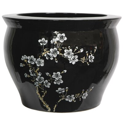 "Oriental Furniture 14"" Flower Blossom Fish Bowl with Stand in Shiny Black"
