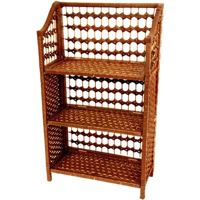 "Oriental Furniture 33"" Natural Fiber Shelving Unit in Honey"