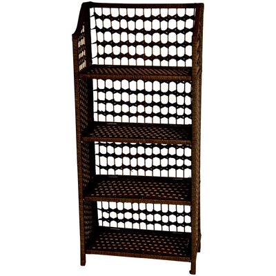 "Oriental Furniture 43"" Natural Fiber Shelving Unit in Mocha"