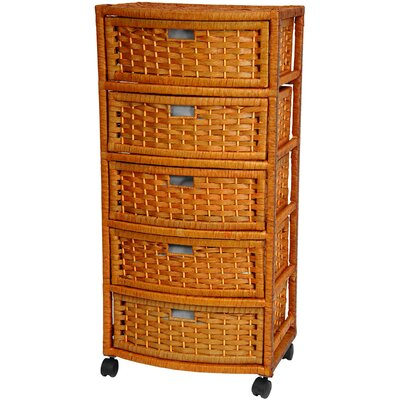 "Oriental Furniture 37"" Chest of Drawers in Honey"