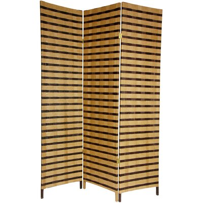 Oriental Furniture 6 Feet Tall Two Tone Natural Fiber Room Divider