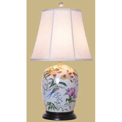 Oriental Furniture Porcelain Lily Ginger Jar Table Lamp