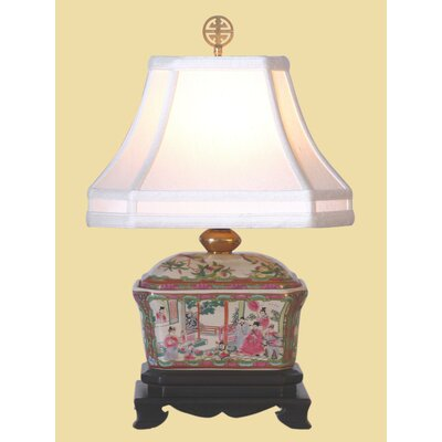 Oriental Furniture Rose Medallion Box Table Lamp