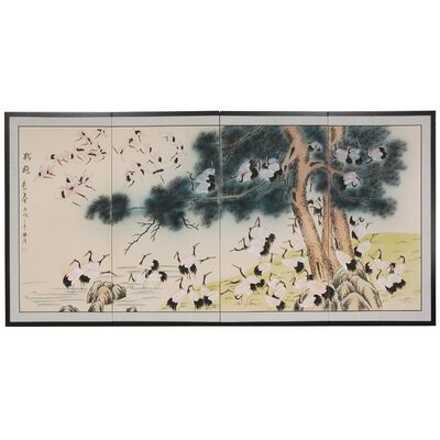 Gold Leaf Cranes 4 Panel Room Divider