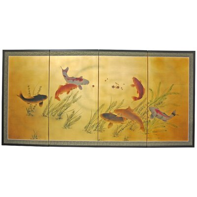 Gold Leaf Seven Lucky Fish 4 Panel Room Divider