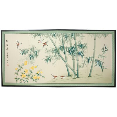 Bamboo and Five Birds 4 Panel Room Divider