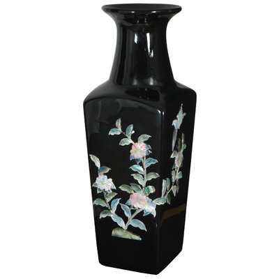 "Oriental Furniture 14"" Square Vase in Black"