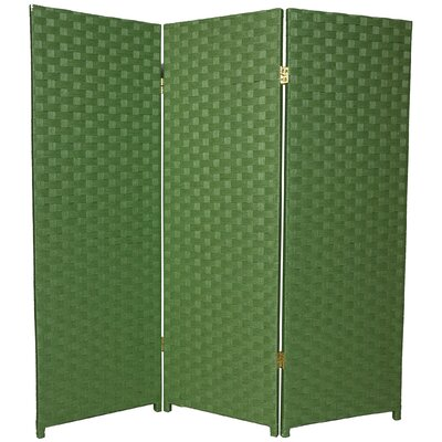 4Feet Tall Woven Fiber Room Divider Light with Three Panel in Green