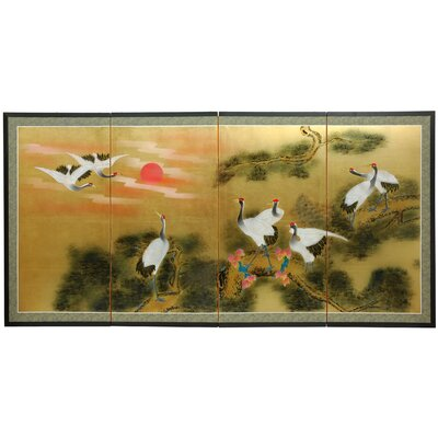 Oriental Furniture Gold Leaf Sunset Cranes 4 Panel Room Divider