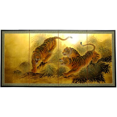 "Oriental Furniture 36"" Gold Leaf Tigers on the Move Silk Screen with Bracket"