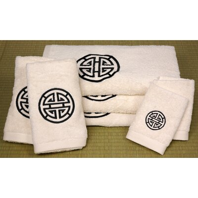 Oriental Furniture 7 Piece Shou Long Life Bath Set in Ivory