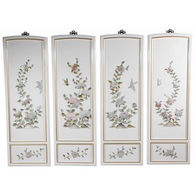 Oriental Furniture Birds and Flowers 4 Piece Wall Décor Set