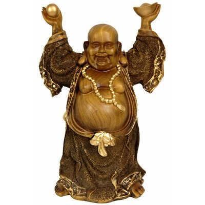 "Oriental Furniture 12"" Standing Prosperity Buddha Statue in Faux Wood Carved"