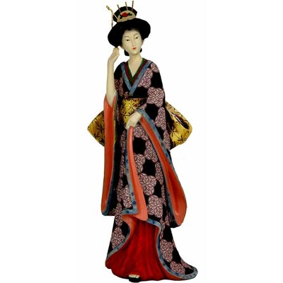 "Oriental Furniture 14"" Geisha Figurine with Ivory Flower Sash"